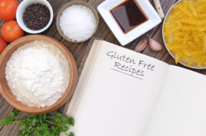 Gluten free ingredients including wheat free pasta, soya and other ingredients with a recipe book