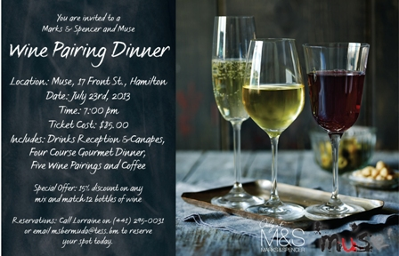 m and s wine pairing dinner bermuda events