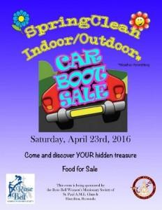 0423 Spring Clean Indoor Outdoor Car Boot Sale