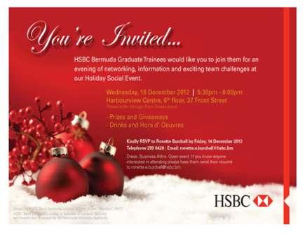HSBC Holiday Invite - Bermuda Events